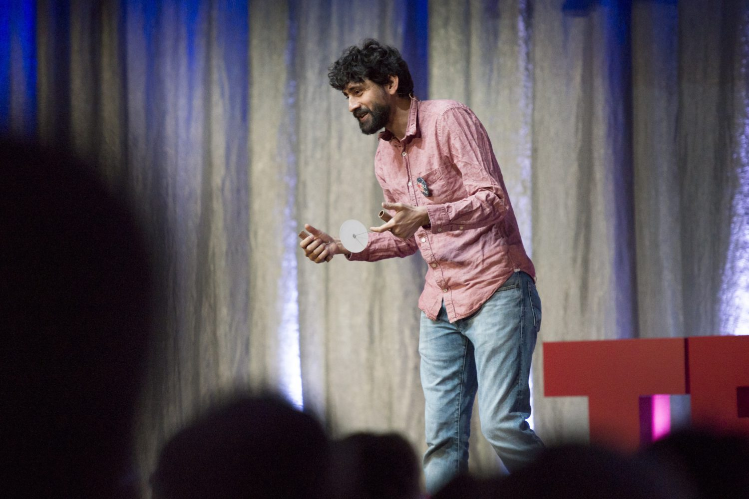 "Manu Prakash delivers the first talk of the conference, ""Saving Lives for 20 Cents."" © Linda A. Cicero / Stanford News Service"
