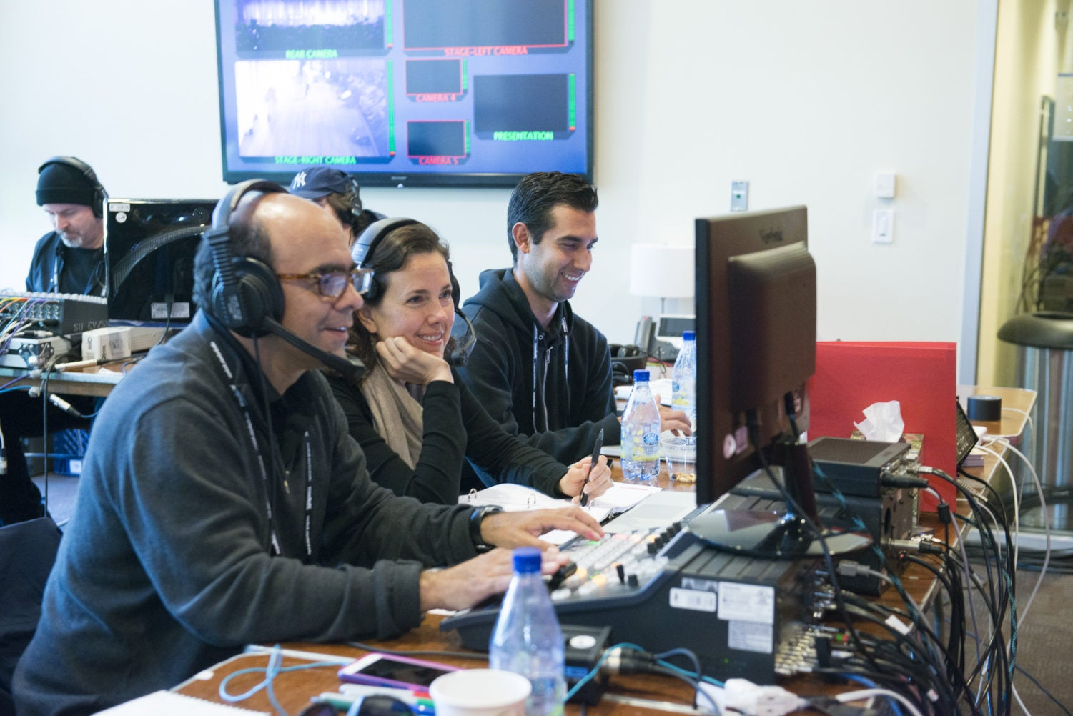Back-stage production of the live webcast. Director Mauricio Quijana, producer Chandra Simon, and video roll-in Pablo Woythaler with Stanford Video. © Linda A. Cicero / Stanford News Service