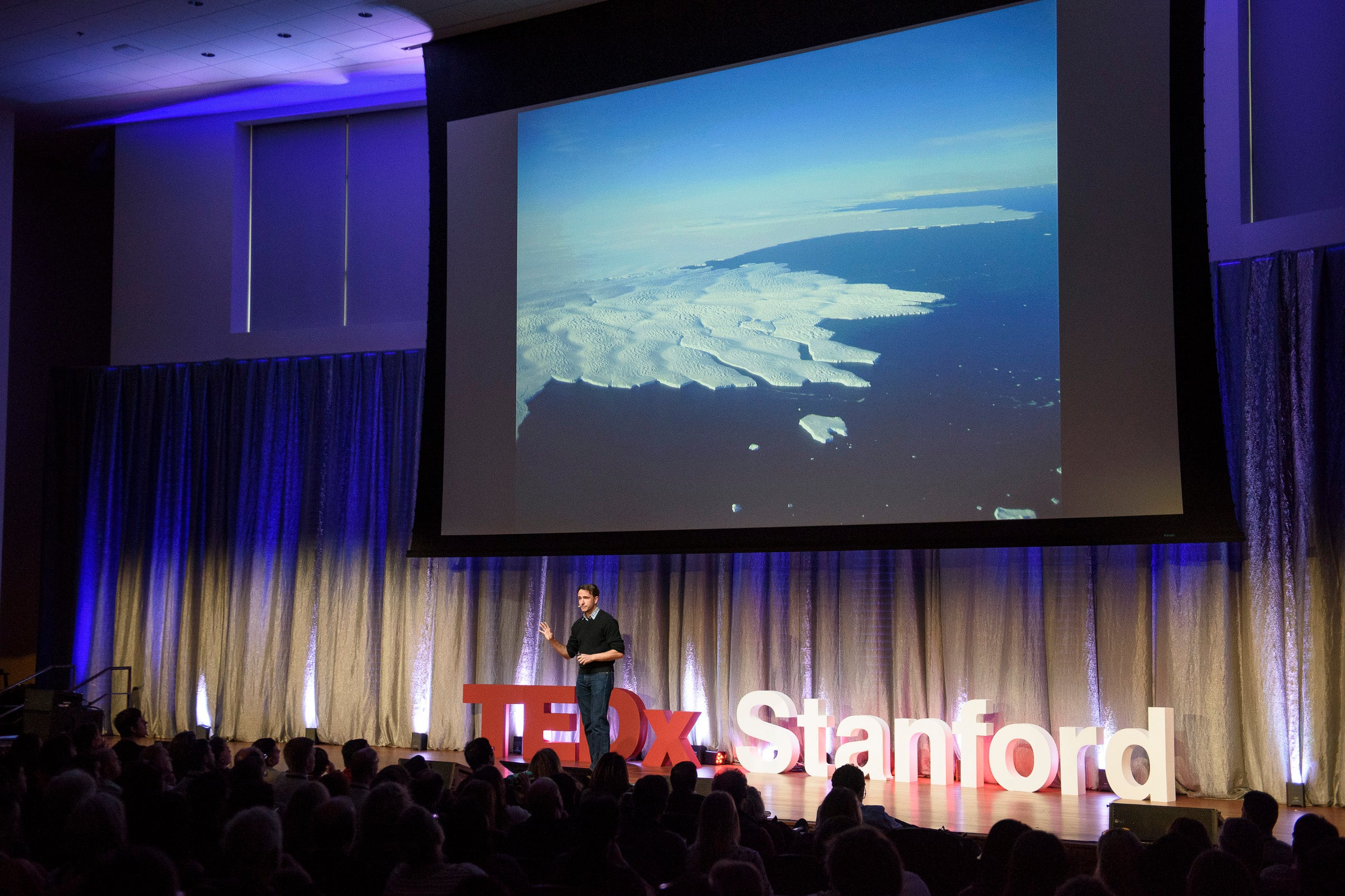 "Assistant Professor Dustin Schroeder talked about radar technology in ""Taking the Pulse of Antarctica."" © Linda A. Cicero / Stanford News Service"