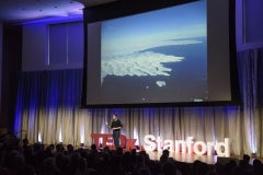 """Assistant Professor Dustin Schroeder talked about radar technology in """"Taking the Pulse of Antarctica."""" © Linda A. Cicero / Stanford News Service"""
