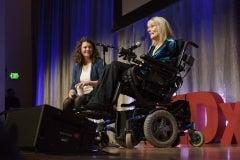 "Elizabeth Jameson delivers the talk ""My Brain as Art."" © Linda A. Cicero / Stanford News Service"