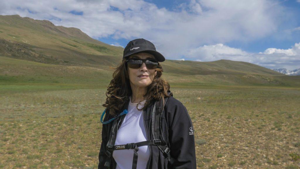 Aisha Khan in Pakistani mountain range